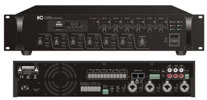350w/ 100v Mixer Amplifier. 6 zone, 4 Mic, 2 Aux, MP3