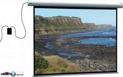 "Motorised screen, 16:9, 100"" diag, incl remote"