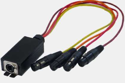 RJ45 to 4x Female XLR DMX/Audio Converter