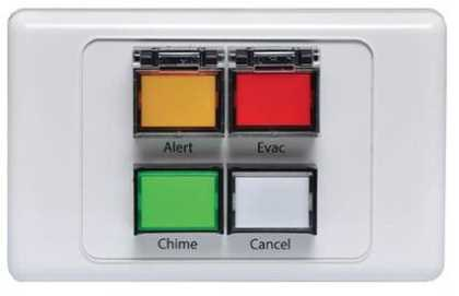 ALERT / EVAC / CHIME / CANCEL buttons on plate