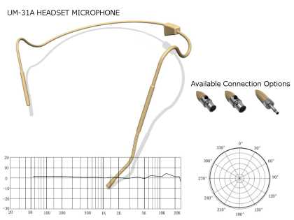 Lightweight Headset Microphone with cable - Beige